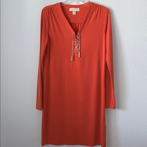 MICHAELKORS orange dress with chain lace-up detail